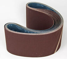 Ten Sanding Belts 150x1220mm (6x48) 120grit. Industrial cloth backed. ABRB648120