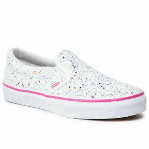 Vans Classic Slip ON Glitter Starts White/Pink Toddlers 10.5