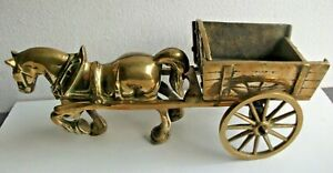 Vintage Large Heavy Brass Horse and Cart.  6kg.