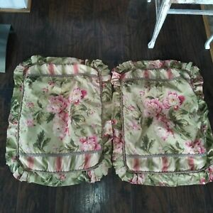 Vtg Lot 2 WAVERLY FOREVER YOURS FLORAL PINK RED GREEN STRIPE Ruffle PILLOW SHAMS