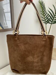 Kate Spade Brown Suede Shoulder Bag with Polka Dot Interior and Dust Cover
