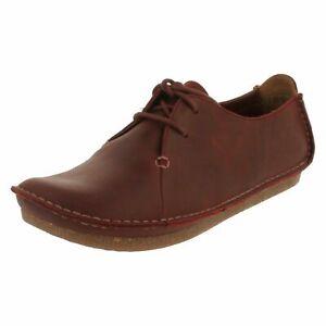 Clarks Ladies Mary Jane Shoes JANEY MAE Wine Leather UK 5 / 38