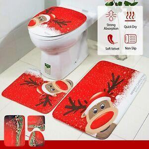 3 Pcs Christmas Bathroom Rugs Set Non-slip Bath Mat Toilet Lid Cover Decor