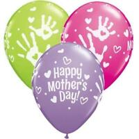 "5 Happy Mothers Day Handprints 11"" Qualatex Latex Balloons"