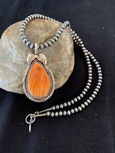 Navajo Native Amer Sterling Silver Orange Spiny Oyster Necklace Pendant Set 325