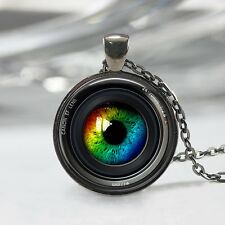Eye in a Camera lens Necklace Photographer Jewelry Camera Art Pendant