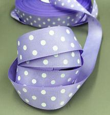 "Purple 5 Yards 1""( 25mm)  printed lot large dots Grosgrain Ribbon lot"