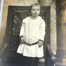 Child Girl Cane Wicker Chair Photograph CABINET CARD Fred Ernst Lancaster PA