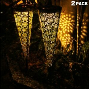 2 pcs Solar Pathway Outdoor Decorative Lights,Solar Garden  Lights, Waterproof