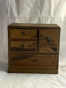 Vintage Japanese Style Tansu 4 Drawer Inlaid Wood Jewelry Chest Box