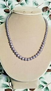 """Pewter Graduated Size Glass Pearl Bead Single Strand 18"""" Necklace. Handcrafted"""