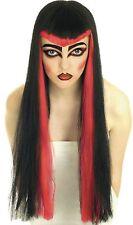 Ladies Black & Red Halloween Vampiress Gothic Wig Fancy Dress