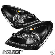 2005-2010 MERCEDES BENZ R171 SLK DRL LED PROJECTOR HEADLIGHTS LIGHTBAR BLACK