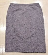 Devernois Paris Navy Blue & Gray Tweed Stretch Knit Pencil SKIRT Sz 14 US, 18 UK