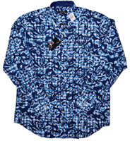 BUGATCHI UOMO Long Sleeve Button Shirt Blue Gingham Geometric Large L ~ New
