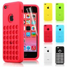 Colourful Matte TPU Silicone Case Cover with Retro Dot Holes for iPhone 5C