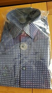 Mens Blue Slim Fit Patterned Formal Shirt Size 15.5 From Marks And Spencer Brand