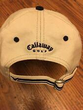 CALLAWAY GOLF Mens Cream Adjustable Baseball Cap Hat Embroiderd Arrow Logo *NEW*