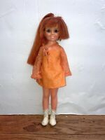 Vintage Ideal Crissy Doll w/ Growing Red Hair Orange dress 1969 18""