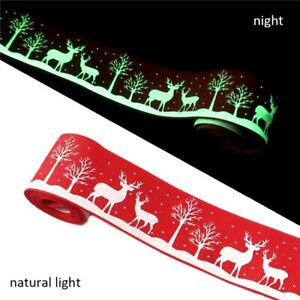 1 METRE GLOW IN THE DARK RED CHRISTMAS RIBBON SIZE 1.5 INCH HEADBANDS HAIR BOWS