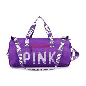 丿Pink Gym Bag Travel Duffel Bag Workout Bag with Shoes Compartment & Sequin PINK