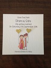 10 x Handmade Bride and Groom Square Save The Date Magnets - Indian Wedding