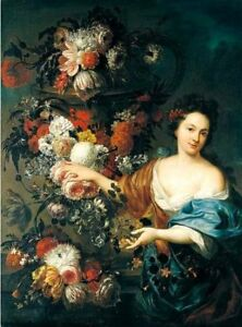"""handpainted oil painting"""" Still life of flowers with a young woman"""" N10957"""