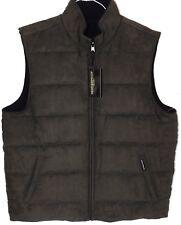 New Mens L Olive Green Weatherproof Garment Co Reversible Microsuede Fleece Vest
