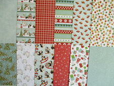 "12 sheets 8x8"" Wonderland Christmas Scrapbook backing Papers - snow penguins"