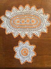 Vintage Doily Orange & Ecru Hand Crocheted Cotton Centrepiece Crochet Doily Set