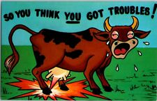 So You Think You Got Troubles? Funny 50's art Vintage Postcard Brown Cow Udders