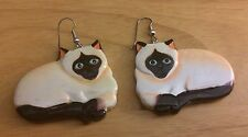 New Siamese Cat Carved Wooden Hand Painted Drop Dangle Earrings