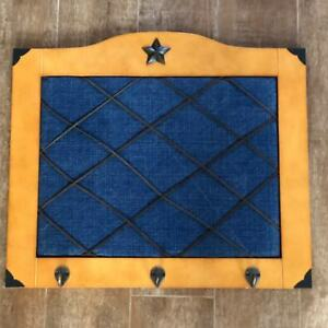 """Western style denim message picture board wood leather memory 21 x 17"""" bedroom"""