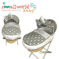 Personalised Boys Girls Grey Polka Dot Moses Basket Cover (NEXT DAY DISPATCH)