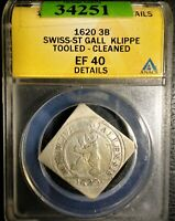 ST. GALLEN. CITY KLIPPE 3 BATZEN 1620 XF40 DETAILS (TOOLED - CLEANED) ANACS