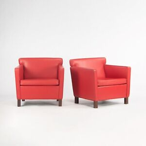 C. 2009 Pair of Mies Van Der Rohe Knoll Krefeld Lounge Chairs in Red Leather