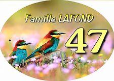 plaque de maison - boite aux lettres oiseau inscription au choix réf 63