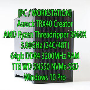 Workstation PC AMD Ryzen Threadripper 3960X 3.8GHz (24C/48T) 64GB RAM 3200MHz