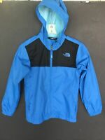 THE NORTH FACE Jacket Boys M 10-12 Hooded Waterproof Rain Coat Blue HyVent