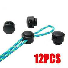 12Pcs Black Paracord Cord Lock Clamp 2 Hole Toggle Clip Stoppers Accessories Set