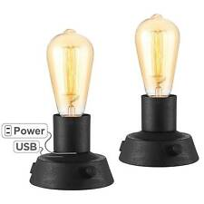 Industrial Modern Table Lamps with USB Set of 2 Black Vintage LED Living Room