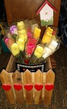 Wooden Picket Heart Fence With Birdhouse With Handmade Roses Valentine