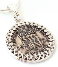 Silver Sixpence Coin Pendant Wedding Jewelry England Monogram Sterling Silver