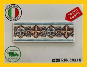 TORELLO CERAMICA di Sassuolo LISTELLO DECORO Fiore 22x7cm Bianco MADE ITALY