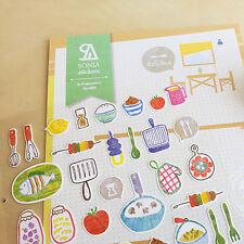 New Kitchen Dish Cake Grill Vegetable Scrapbook Album Card Making Craft Sticker