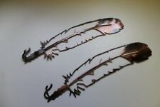 Metal Wall Art FEATHERS collection 2 set of 2 copper/bronze plated
