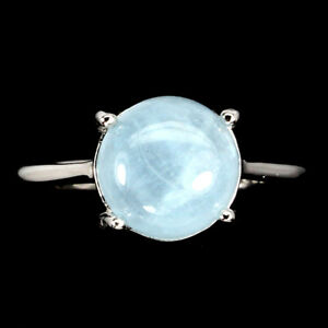 Unheated Round Aquamarine 9mm 14K White Gold Plate 925 Sterling Silver Ring Sz 6