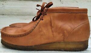 Clarks Wallabee Beeswax BROWN Leather Crepe Sole Chukka Boots US 10 EU 44 UK 9.5