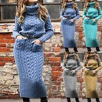 Women Winter Warm Turtleneck Long Knitted Sweater Dress Long Sleeve Maxi Dresses
