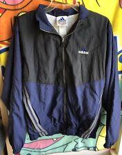 Vintage 90s Adidas Windbreaker Track Jacket Navy Blue 3 Stripes Rare Mens Small